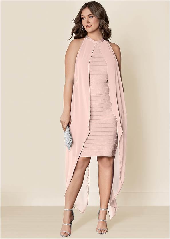 Bandage Dress,Sexy Ankle Strap Heels,Medallion Earrings,Rhinestone Clutch