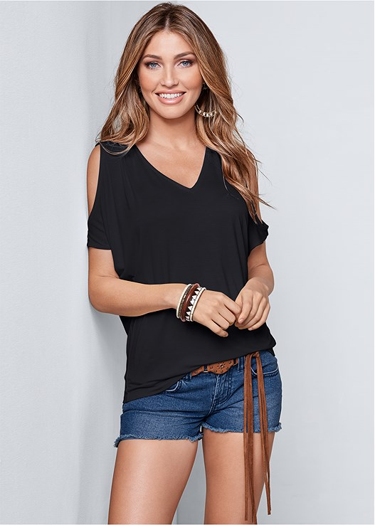 COLD SHOULDER V-NECK TOP,CUT OFF JEAN SHORTS,EVERYDAY YOU MEMORY FOAM,PERFORATED SNEAKERS,ROPE STATMENT NECKLACE,POM POM DETAIL STRAW BAG