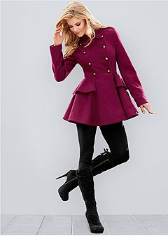 plus size peplum coat