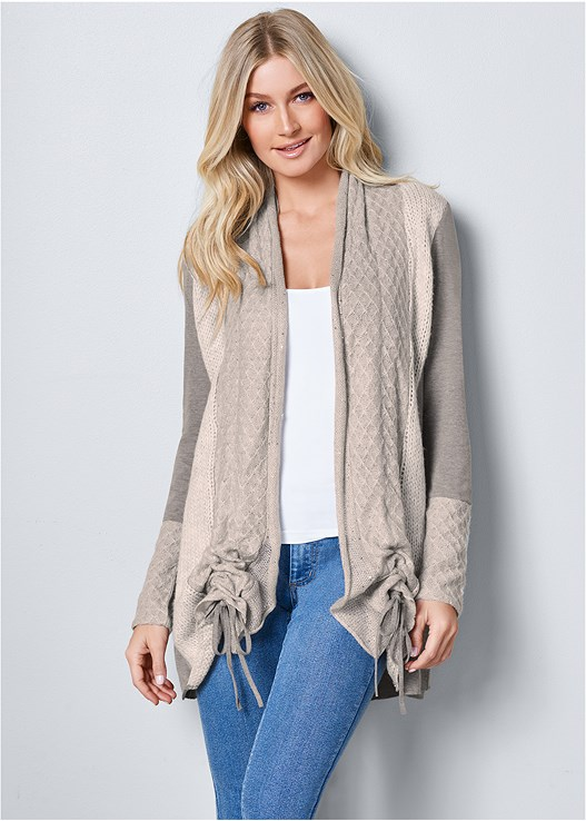 COZY LONG CARDIGAN,SEAMLESS CAMI,COLOR SKINNY JEANS,WRAP STITCH DETAIL BOOTIES