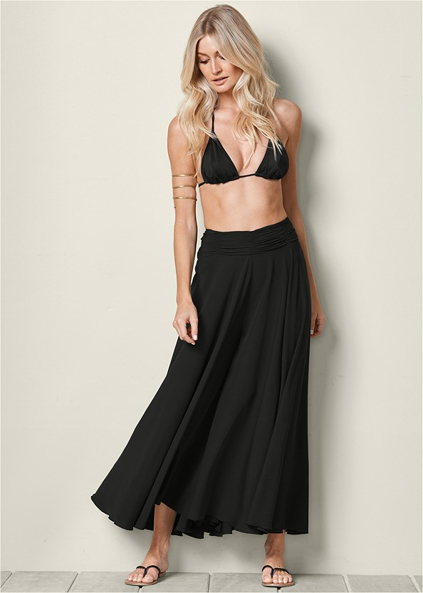 Wide Leg Pants,Triangle String Bikini Top,String Side Bikini Bottom,Etched Metal Upper Arm Band