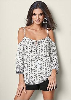 printed cold shoulder top