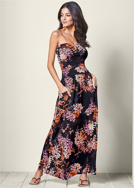 Strapless Floral Maxi Dress In Black Multi Venus