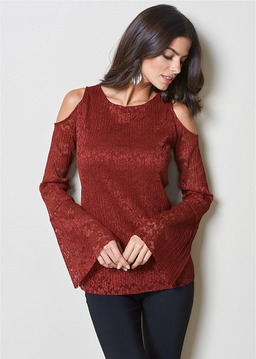 LACE COLD SHOULDER TOP,SLIMMING STRETCH JEGGINGS,HIGH HEEL STRAPPY SANDALS,HOOP TASSEL DROP EARRINGS
