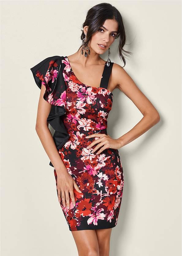 One Shoulder Floral Dress,High Heel Strappy Sandals