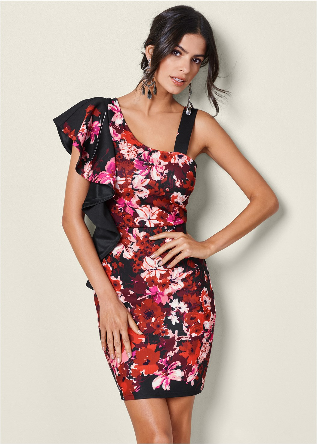 One Shoulder Floral Dress,High Heel Strappy Sandals