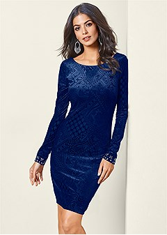 BURNOUT JEWELED DRESS in Navy  259d041ce