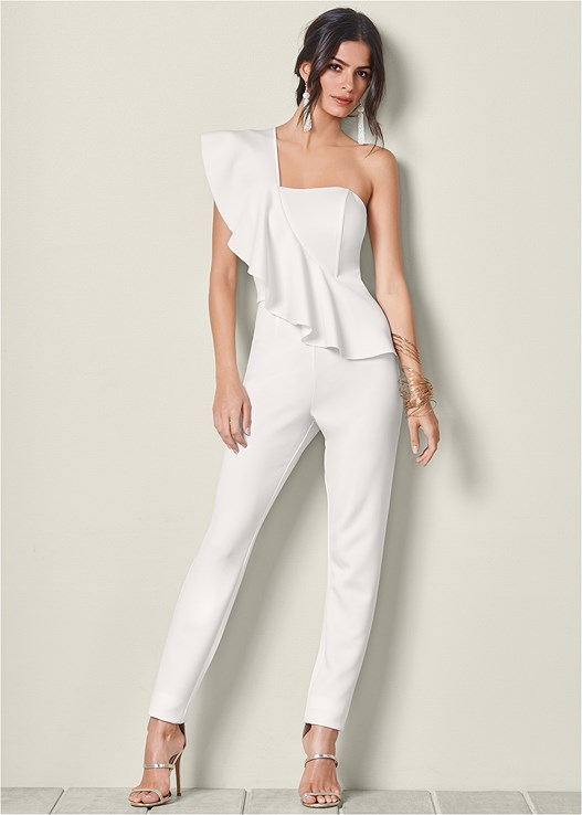 34d0ee7a805e ONE SHOULDER JUMPSUIT in Off White