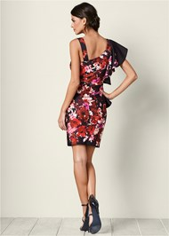 Back view One Shoulder Floral Dress