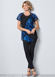 Front view Short Sleeve Lace Blouse