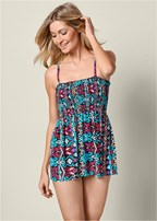 smocked tankini top