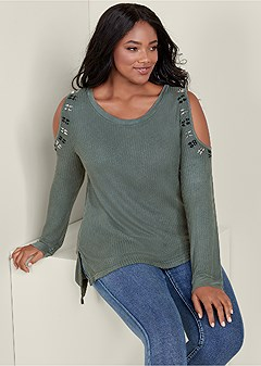 plus size shoulder detail waffle top