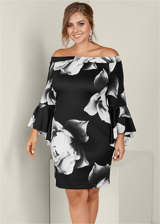 Plus Size Sleeve Detail Floral Dress Venus