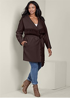 plus size fringe detail outerwear