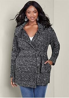 plus size cozy textured cardigan