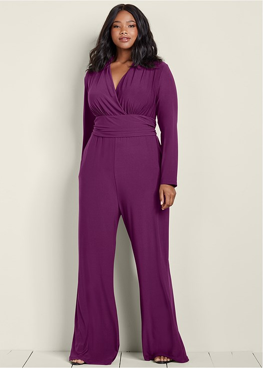 833133859f9 Plus Size V-NECK WAIST DETAIL JUMPSUIT WITH POCKETS in ...