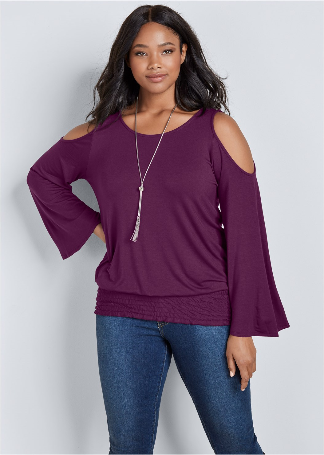 Cold Shoulder Blouson Top,Mid Rise Color Skinny Jeans,Slouchy Mid Calf Boots