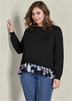 plus size floral print twofer sweater