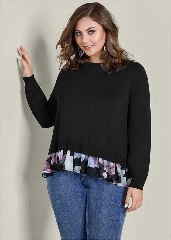 Floral Print Twofer Sweater,Mid Rise Color Skinny Jeans