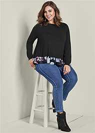 Front View Floral Print Twofer Sweater