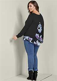 Back View Floral Print Twofer Sweater