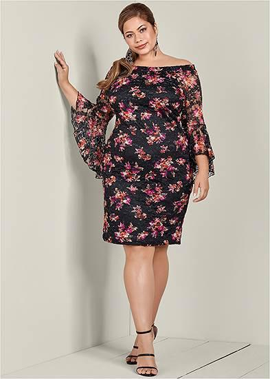 Plus Size Off The Shoulder Lace Dress