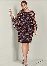 Front View Off The Shoulder Lace Dress