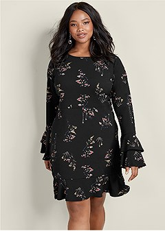 plus size floral bell sleeve dress