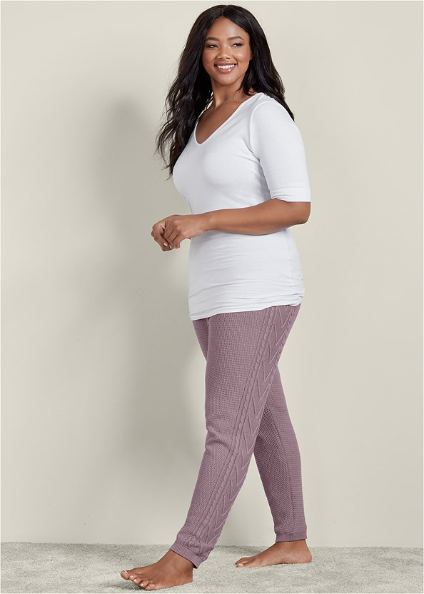 Lined Sweater Lounge Pants,Long And Lean V-Neck Tee