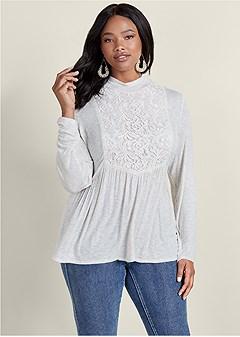 plus size lace detail mock neck top
