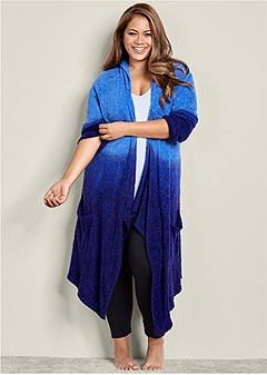 plus size cozy ombre lounge cardigan