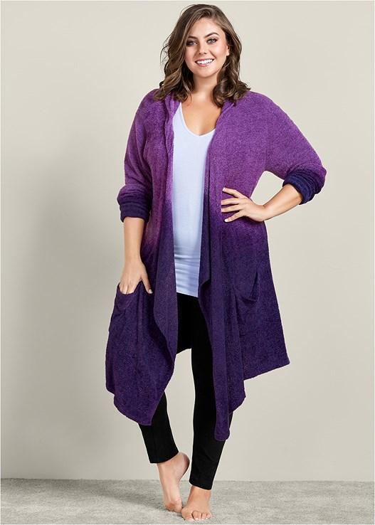 Plus Size COZY OMBRE LOUNGE CARDIGAN in Purple Multi  8f42a3d58