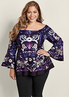 plus size embroidered peplum top