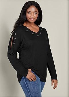 plus size grommet cold shoulder top