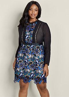 plus size floral lace detail dress