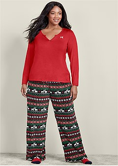 plus size plush pajama 3 piece set