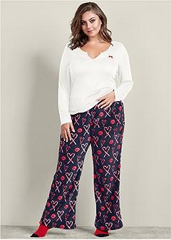 plus size plush pajama 3 piece set