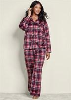 plus size cozy button down pajama set