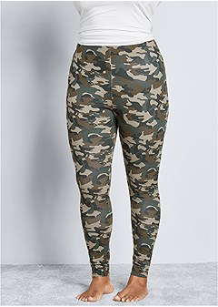 plus size printed sleep leggings