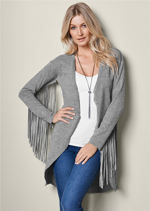 FRINGE CARDIGAN SWEATER,COLOR SKINNY JEANS,WRAP STITCH DETAIL BOOTIES