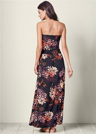 Back view Strapless Floral Maxi Dress