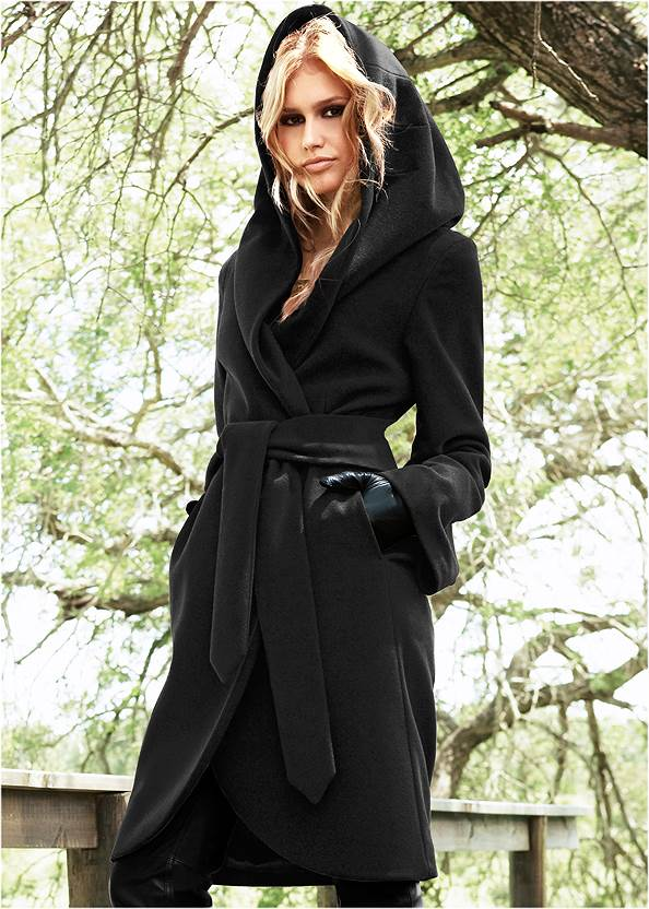 Hooded Wrap Coat,Fold Over Boot,Fringe Scarf,Stud Detail Crossbody