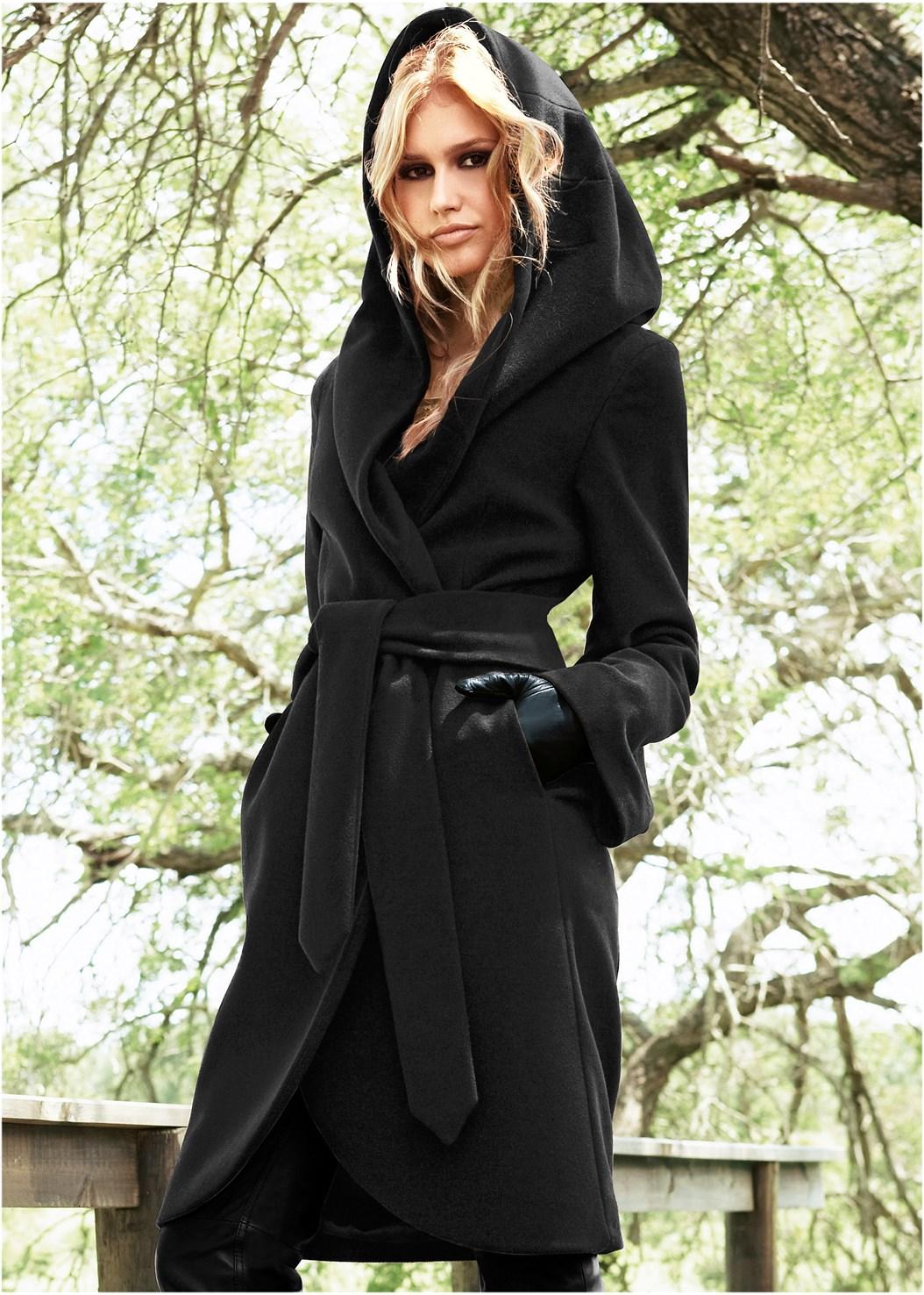 Hooded Wrap Coat,Fold Over Boot,Knot Hoop Earrings,Fringe Scarf,Paillette Detail Scarf,Stud Detail Crossbody
