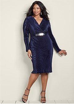 plus size pleated belted dress