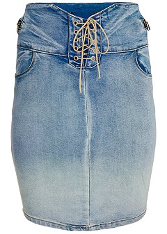 plus size lace up jean skirt