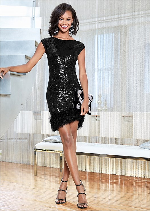 BODYCON SEQUIN DRESS,HIGH HEEL STRAPPY SANDAL,EMBELLISHED VELVET HANDBAG,EVERYDAY YOU UNLINED BRA