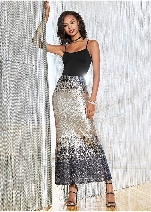 SEQUIN OMBRE LONG SKIRT,SEAMLESS CAMI,HIGH HEEL STRAPPY SANDAL