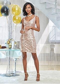 plunging v-neck party dress