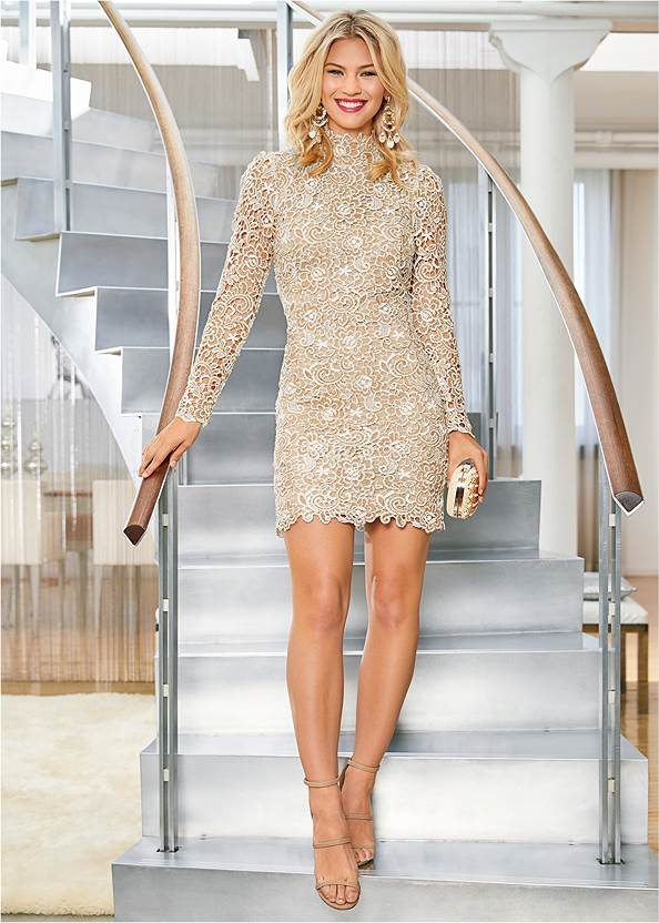 Front View Open Back Lace Dress
