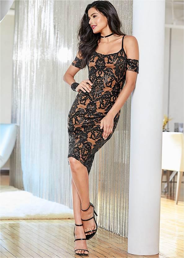 Sequin Cold Shoulder Dress,High Heel Strappy Sandals